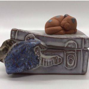 Rosenthal Netter Sleeping Cat on Suitcase Figurine